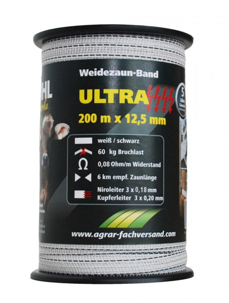 WAHL-Hausmarke WEIDEZAUNBAND - ULTRA - 12,5mm / 200m